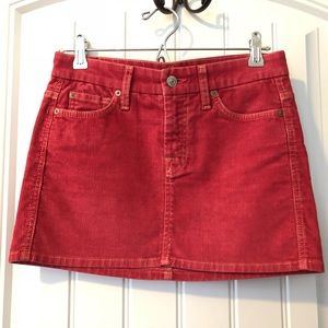 7 for all mankind corduroy mini skirt red size 24